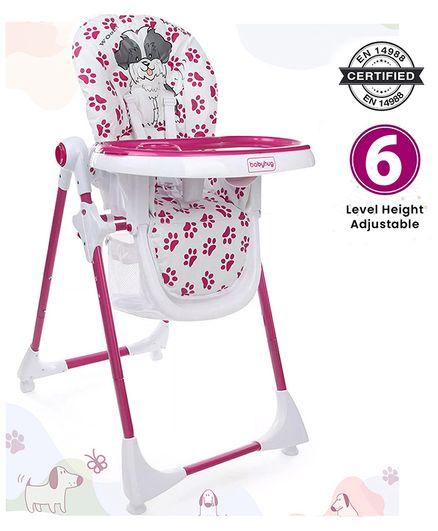 Babyhug Fine Dine Highchair With 6 Adjustable Heights & 3 Level Seat Recline - Pink White