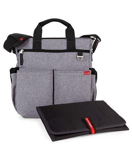 Skip Hop Duo Signature Diaper Bag With Changing Mat - Light Grey