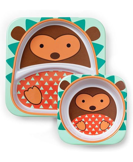 Skip Hop Bowl & Plate Set Hedgehog Design - Multicolour
