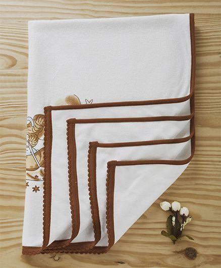 Tinycare Towel Teddy Print - White Brown