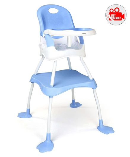 Babyhug Urban 4 in 1 High Chair With 3 Point Safety Harness And Anti-Slip Base - Blue