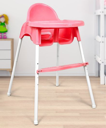 Babyhug Grace 2 in 1 Dining Chair With 2 Point Safety Harness & Anti Slip Footrest - Pink