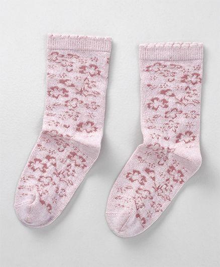 Mustang Mid-calf Length Socks Floral Design - Light Pink