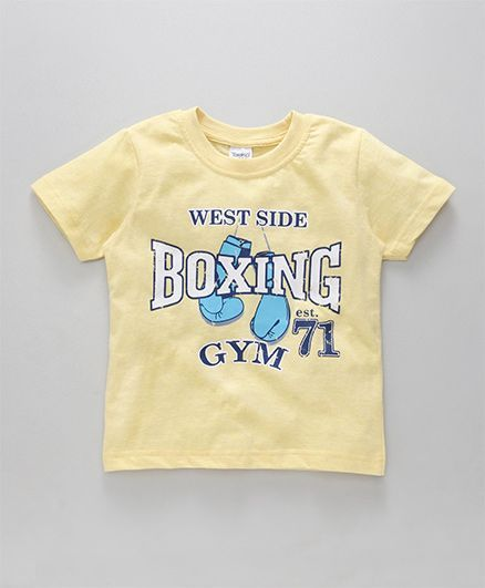 ceea6e5373f922 Taeko Half Sleeves T-Shirt Boxing Print - Light Yellow