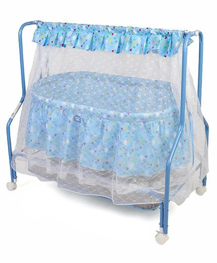 Mee Mee Cradle With Mosquito Net Heart Print - Blue