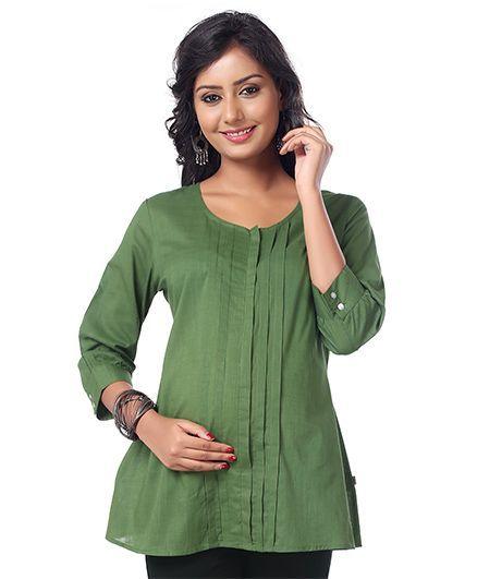 Kriti Three Fourth Sleeves Nursing Top - Green