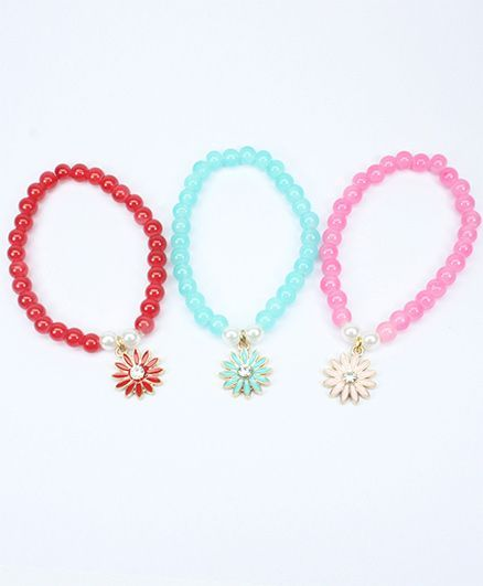 Asthetika Set Of 3 Floral Bead Bracelet - Multicolour