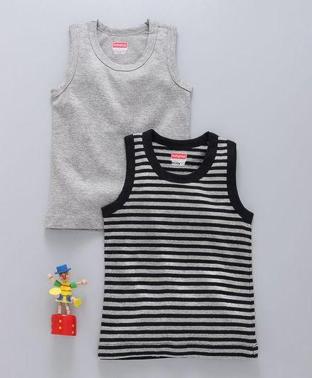 Babyhug Sleeveless Solid & Striped Vests Set of 2 - Grey Black