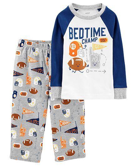 331e045fbe09 Buy Carters 2Piece Cotton   Fleece PJs Multicolour for Boys (3-4 ...