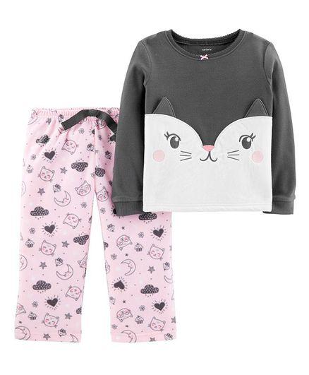 92cb23037b Buy Carters 2Piece Cat Fleece PJs Grey Pink for Girls (4-5 Years ...
