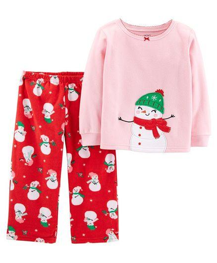 1faf5a7d7a Buy Carters 2Piece Christmas Snowman Fleece Pajama Pink   Red ...