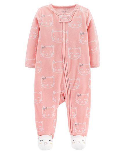 8338f7bba888 Buy Carters Kitty ZipUp Fleece Sleep   Play Pink for Girls (6-9 Months ...