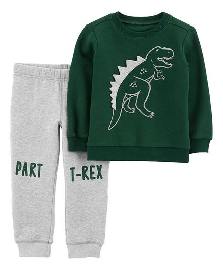 Buy Carters 2Piece TRex Pullover   Jogger Set Dark Green Grey for ... 0187ffc64