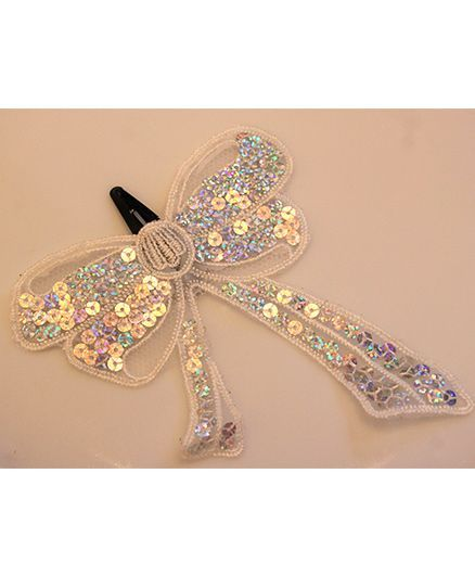 Many Frocks & Big Sequines Bow clip - White