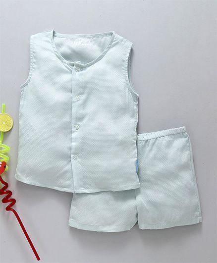 Gini & Jony Sleeveless Solid Vest & Shorts Set - Light Aqua