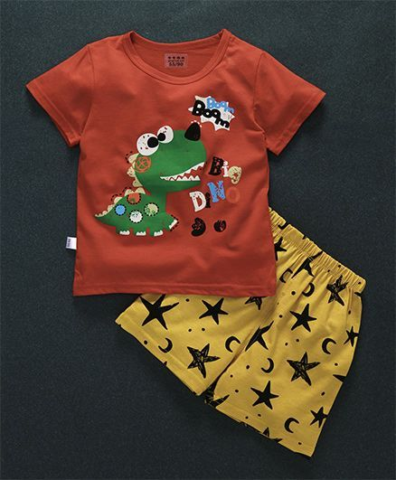 Buy Honey Hut Half Sleeves Dino Print Tshirt With Shorts Brown