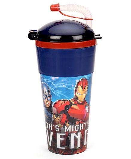Marvel Avengers Tumbler With Flexible Straw & Lid Blue - 470 ml