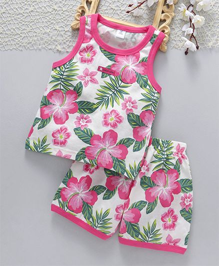 acc6209408 Buy ToffyHouse Sleeveless Top   Shorts Night Wear Floral Print Pink ...