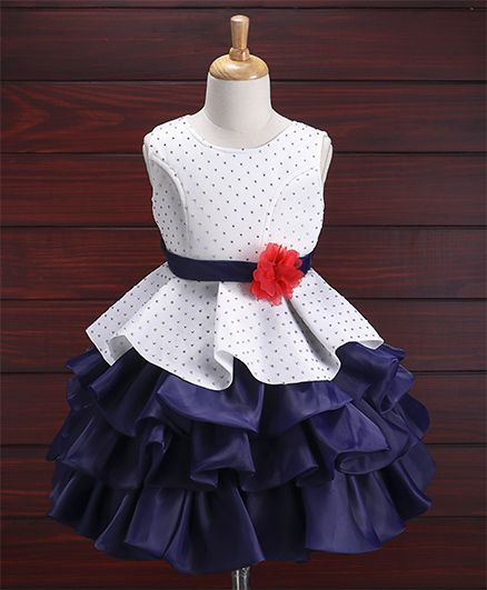 Buy Babyhug Sleeveless Layered Party Wear Frock White Navy Blue ... 4973cf5a4
