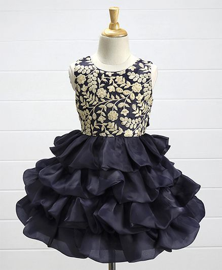 Babyhug Sleeveless Layered Party Frock Floral Embroidered - Navy Blue e9c5a5ed0