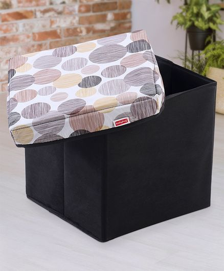 Babyhug Sto-Sit Foldable Storage Box Cum Stool - Black & Blue Heart