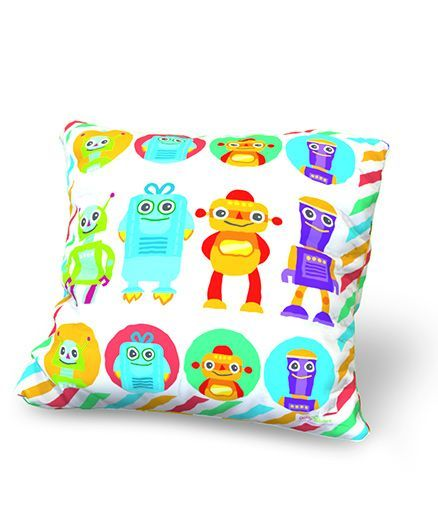 Baby Oodles Cushion With Inner Filler Robot Print - Multi Color