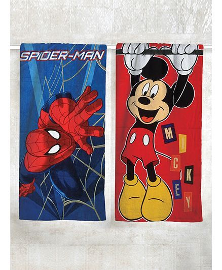 Athom Trendz Spider Man & Mickey Mouse Theme Bath Towel Pack of 2 - Red Blue