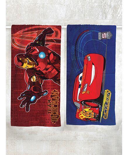 Athom Trendz Iron Man & Disney Cars Theme Bath Towel Pack of 2 - Red Blue