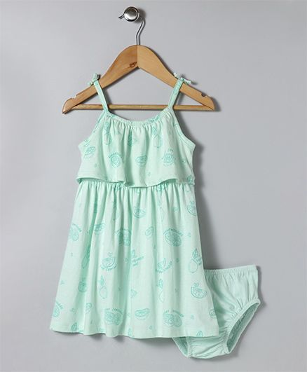 Fox Baby Singlet Neck With Bloomer Fruit Print - Mint Green