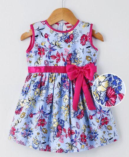 1f5f43fec7f Buy Babyhug Sleeveless Frock Floral Print Light Blue for Girls (2-3 ...