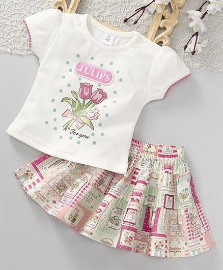 ToffyHouse Short Sleeves Printed Tee & Skirt Set - White & Multi Colour