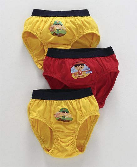 Simply Briefs Boy Print Pack of 3 - Navy Red Yellow