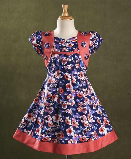 Enfance Core Floral Print Flare Dress With Flowers - Blue & Peach