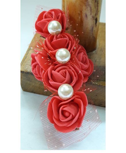 Sugarcart Bunch Of Roses With Pearls Clip - Red