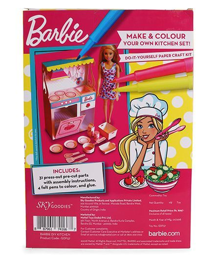 Barbie diy kitchen kit with doll multicolour online india buy dolls barbie diy kitchen kit with doll multicolour solutioingenieria Images