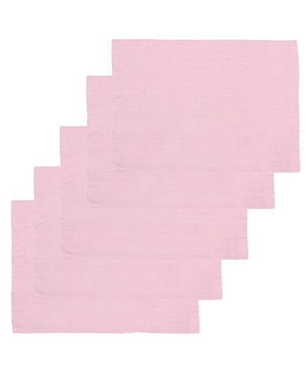 Lula Reusable Muslin Square Napkins Pack of 5 - Pink