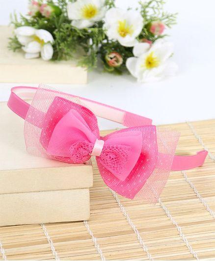 Babyhug Hair Band Double Bow Motif - Pink
