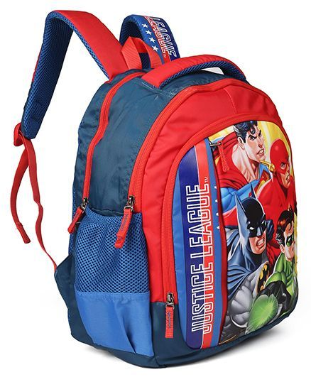 7ef4b5d4e23e DC Comics School Bag Justice League Print Red Blue 16 inches ...