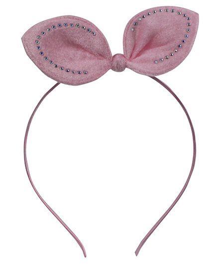 Tia Hair Accessories Diamond Studded Bunny Velvet Hairband - Baby Pink
