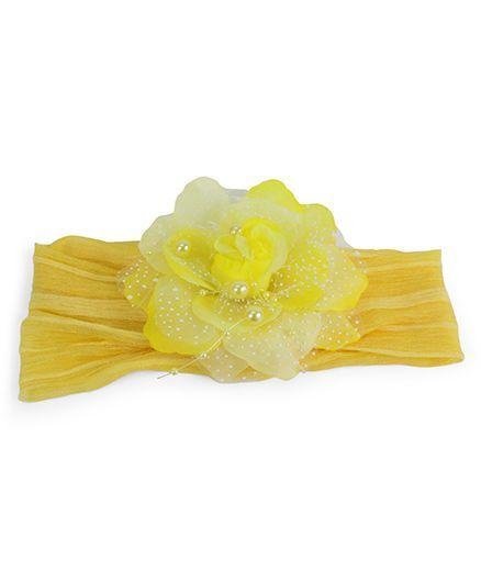 Tia Hair Accessories Headband With Net Rose & Pearl - Yellow