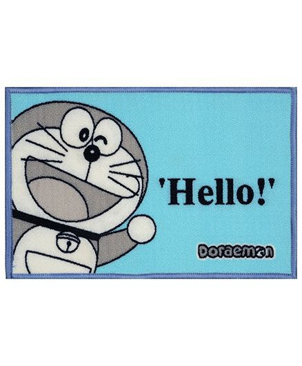 Saral Home Doraemon Theme Polyester Anti Slip Door Mat - Light Blue