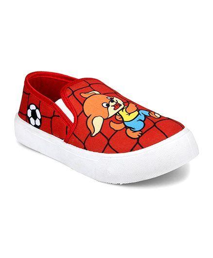 Myau Cartoon Printed Slip on Casual Shoes-Red