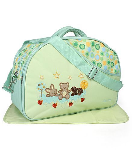 Mee Mee Diaper Bag With Changing Mat Bear Embroidery - Green