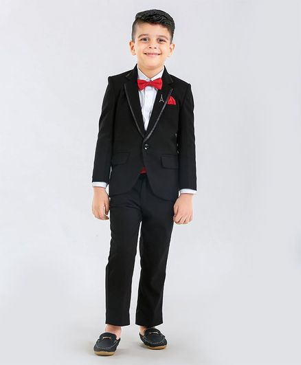 Babyhug Full Sleeves Tuxedo 3 Piece Party Suit With Bow & Waist Band- Black Red