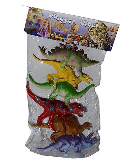 VibgyorVibes Pre Historic Animal Toy Figures Set of 6 (Assorted Colours)