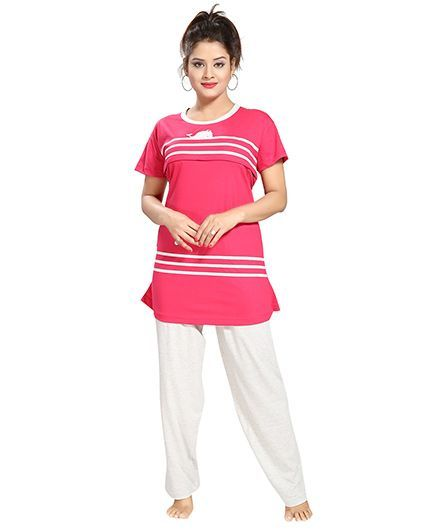 09bfe9af0b Fabme Maternity Nursing Feeding Night Suit Dark Pink Online in India ...