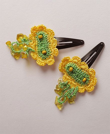 Samoolam Crafts Embellished Crochet Tic Tacs - Yellow & Green