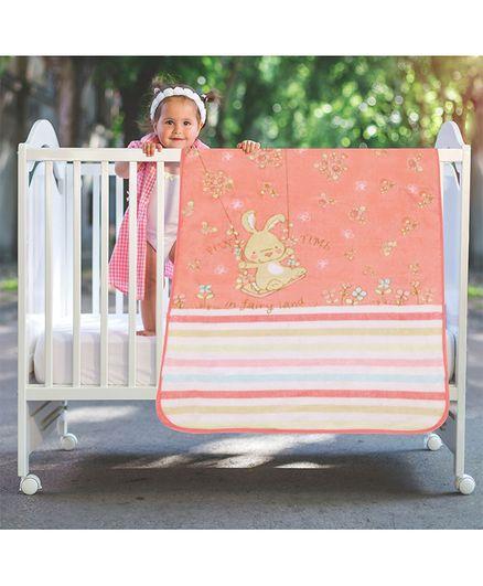 A Homes Grace Baby Blanket Bunny Design - Peach