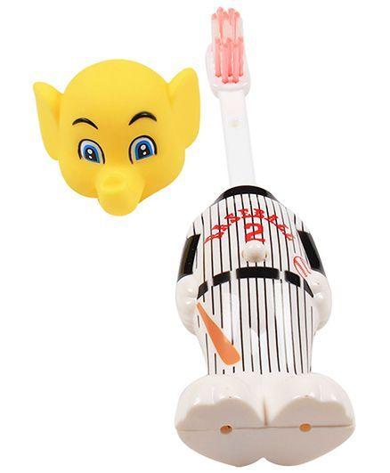 Ole Baby Push Button Tooth Brush Cum Baseball Elephant Toy - Yellow