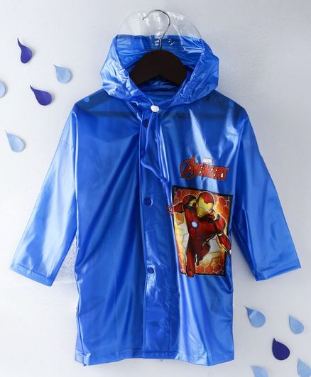 31e0e2be31e Babyhug Full Sleeves Hooded Raincoat Iron Man Print -Blue